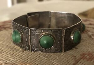 Antique Vintage Mexican Sterling Silver And Green Malachite Bracelet