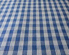 Antique Dark Indigo Blue Homespun Plaid Cotton Fabric #2~ Americana Farmhouse