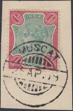 1909 India used in Muscat Oman, 1r green/carmine on piece, SG# Z54 [sr3285]