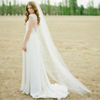 Hot Tulle White Ivory 1T 2M Wedding Bridal Long Veil Cathedral With Comb Solid