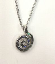 "Paua Shell Swirl Necklace 18"" Chain Rhodium Plated Gift Box"