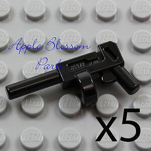 NEW Lego Lot/5 Minifig BLACK TOMMY GUNS -Joker Batman Prison Gangster Gun Weapon