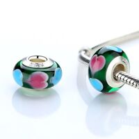 L'Amour, Green Heart's Murano Glass Charm. Genuine And Stamped 925 Silver