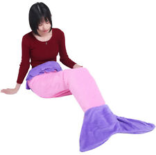 Mermaid Tail Blanket Fleece Knit Sleeping Bag Soft Fish Rug For Adult Child Kids