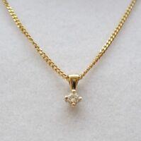 Brand New 9ct Yellow Gold  Diamond Solitaire Pendant/Necklace £100 Freepost