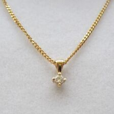 Brand New 9ct Yellow Gold Diamond Solitaire Pendant/Necklace £95 Freepost