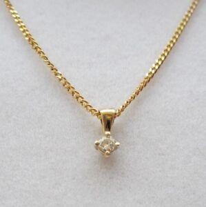 Brand New 9ct Yellow Gold 1/5ct Diamond Solitaire Pendant/Necklace £190 Freepost