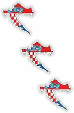 "Croatia 3x Small Map flag Stickers (1.2""x1.2"")Bumper Helmet Phone"