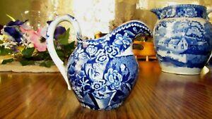 RARE 1850s Bird Flower Creamer Pitcher Blue Historical Staffordshire Stone China