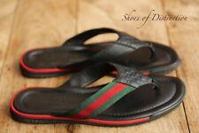 Gucci Genuine Black Gg Web Sandals Sliders Flip Flops Shoes Uk 7 Us 8 Eu 41