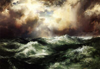 Dream-art Oil painting Thomas Moran Moonlit Seascape with ocean waves at sunset