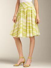 NEW $89 TALBOTS Yellow,Green ZigZag Stripe Cttn Voile Full Skirt Sz 6P,6 Petite