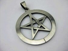 12 pcs Pentagram Pentacle Fashion Circle Stainless Steel Pendant Unisex