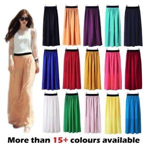 Ladies womens CHIFFON gypsy, long jersey maxi dress SKIRT elasticated 8 10 12 14