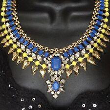 NEW BCBG MAXAZRIA NECKLACE COLLAR FAUX GOLD BLUE NEON GREEN WOMENS JEWELRY STONE