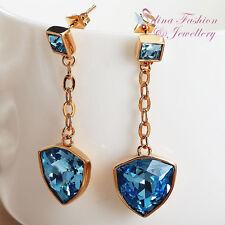 18K Rose Gold GF Made With Swarovski Element Trillion Cut Aquamarine Earrings