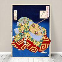 "Traditional Japanese SAMURAI Kabuki Art CANVAS PRINT 24x18""~ Blue  #18"