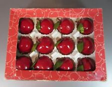 Vintage Apple Ornament Lot Set Christmas Red Taiwan CDR Fruit Craft Foam