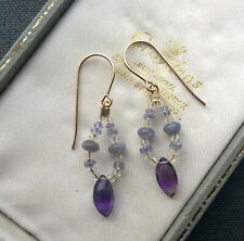 TANZANITE AMETHYST EARRINGS LOOPS 14K GOLD FILLED