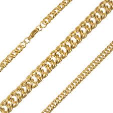 Acero chapado en oro cadena de cordón de enlace doble con langosta broche 1 metros (G93/21)