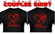 Two Personalized Heart love shaped Couple T-Shirt Adult Shirt Top Men and Women