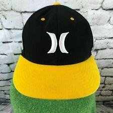 Hurley Mens Sz 6 7/8- 7 1/4 Hat Black Yellow Bill Flexfit Baseball Cap Flaw