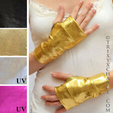 Metallic Gold Gloves Arm Cuffs Bands Oil Slick Vinyl Shiny Wonder Woman 1006