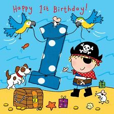 TWIZLER 1st Birthday Card For Boy With Pirate Dog And Parrots