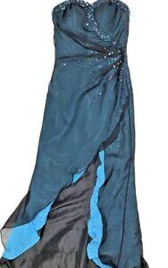 Riva Designs Women 2 Blue Black Strapless Gown Dress Formal Waterfall Sweetheart
