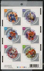 Canada  Sc 1972 2003 Hockey All Stars self adhesive booklet pane mint NH