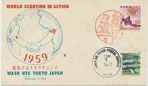"""GB 1959 SCOUTING-Special Flight with ARMY-AIR FORCE POSTAL SERVICE """"USA-TOKYO"""