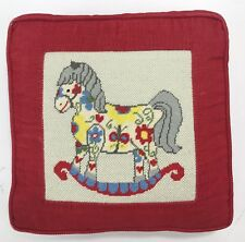 """Vintage Needle Point Pillow 10"""" Square Red Corduroy Rocking Horse Baby Nursery"""