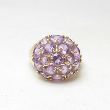 Little Estate 14K Yellow Gold 17 Natural Round Purple Amethyst Ring 1.70 cts