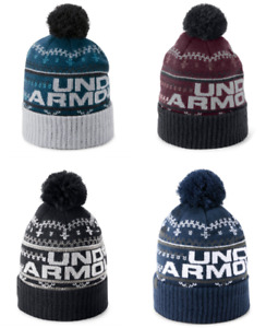 Under Armour Beanies Mens New Cold Weather Retro Pom Pom Soft Knit Quick Dry