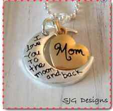 MOM I LOVE YOU TO THE MOON AND BACK CHARM on 925 Silver BALL CHAIN necklace-NEW