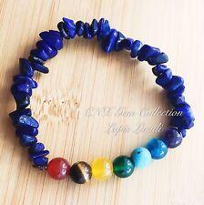 Crystal Gemstone Lapis Lazuli Chip Stone Chakra Beads Stretchy Bracelet Libra