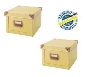 IKEA FJALLA Storage Box with Lid - Yellow - Organization x 2 pc New