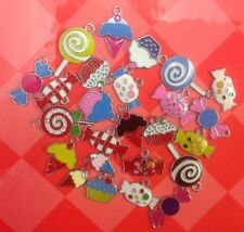 "Set of 10 Stylish ""Sweet Cake Lolly"" Colourful Enamel Metal Charm Pendants -(T2)"