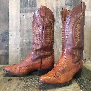 Sanders Vtg Ostrich Leg Cowboy Boots Mens 9.5 D