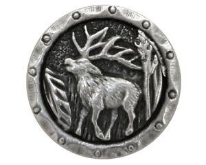 2 pcs. Antlers Elk 3/4 inch (20 mm) Metal Buttons Antique Silver Color