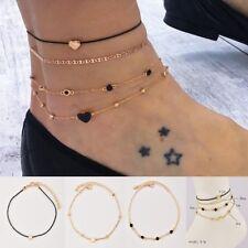 4Pcs/Set Women Ankle Bracelet Anklet Foot Jewelry Chain Beach Love Heart Gifts