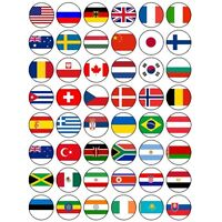 48 x WORLD FLAGS EDIBLE FAIRY CUP CAKE RICE PAPER TOPPERS FREE DELIVERY OLYMPICS