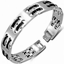 Bracelet With Link Panther Stainless Steel With Rubber Black 340