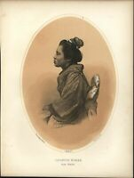 Japanese Woman of Simoda 1856 Perry Expedition old litho view print