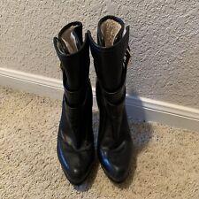 michael michael kors, women, black leather stiletto heel boots, sherpa lining
