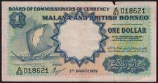 MALAYA and BRITISH BORNEO 1959 $1 - FOLDED/TEAR/CIRCULATED #NB04
