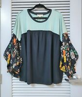 navy floral puff slev heathered top  2XL