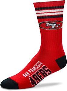 NEW San Francisco 49ers Reverse Stripe Deuce Crew Socks NFL 2 Sizes Available
