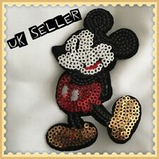2 x Disney Mickey Mouse 9cm Sequin Iron / Sew On Embroidered Cloth Patches