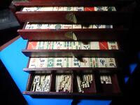 ANTIQUE CHINESE BONE & BAMBOO  DOVE TAILED MAHJONG SET 156 tiles + 150 # Sticks